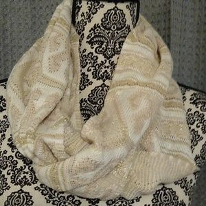 Gold and cream infinity scarf